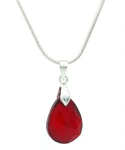 Deep Red Crystal Glass Teardrop Cut Drop Pendant / Necklace